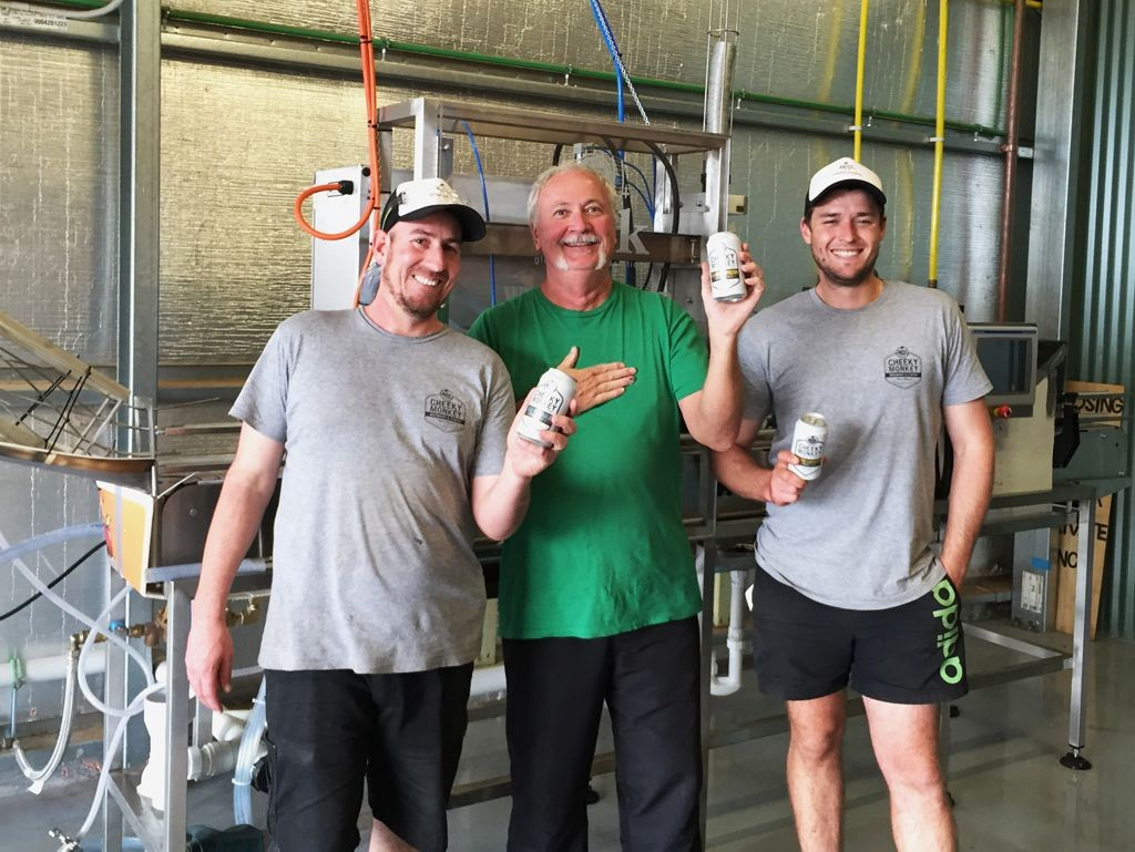 Cheeky Monkey Brewer's with Cask's Bill Rose in front of a Cask ACS