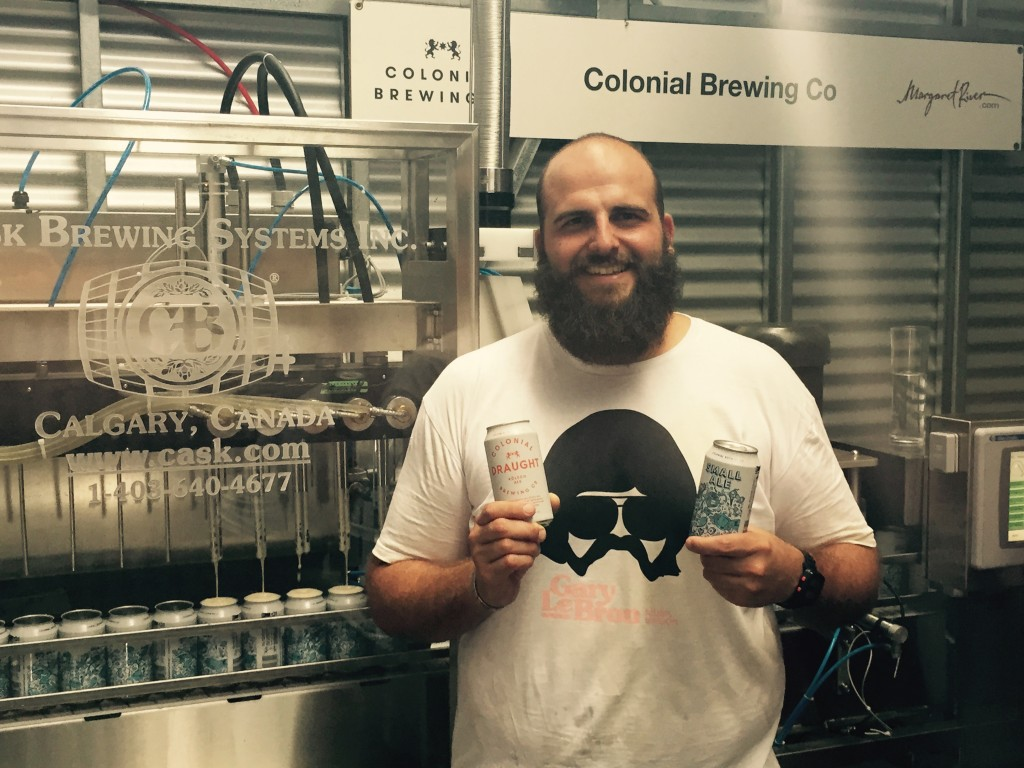 Colonial Brewing's Paul Wyman with Cask ACS and printed cans